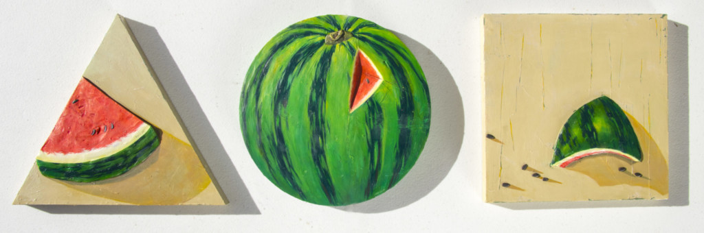 A three-piece series featuring two watermelon slices flanking one whole watermelon created by Hana Jung