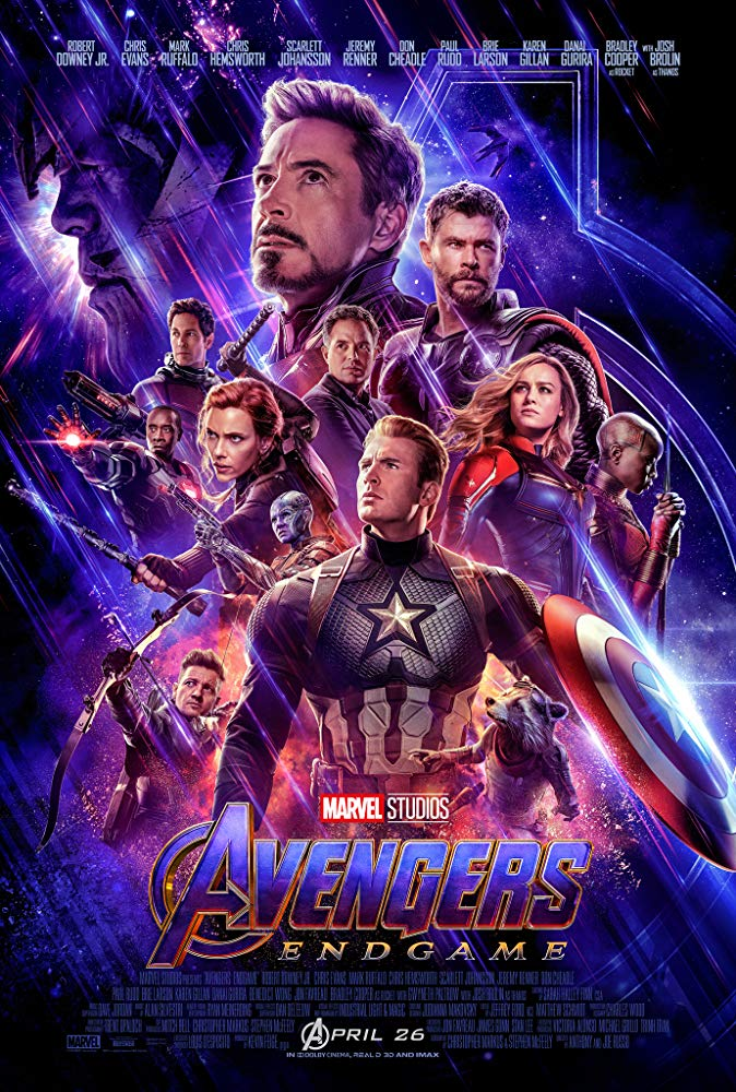 Avengers Endgame movie poster featuring Captain America, Iron Man, Captain Marvel, Black Widow, Thor, and more Marvel superheroes