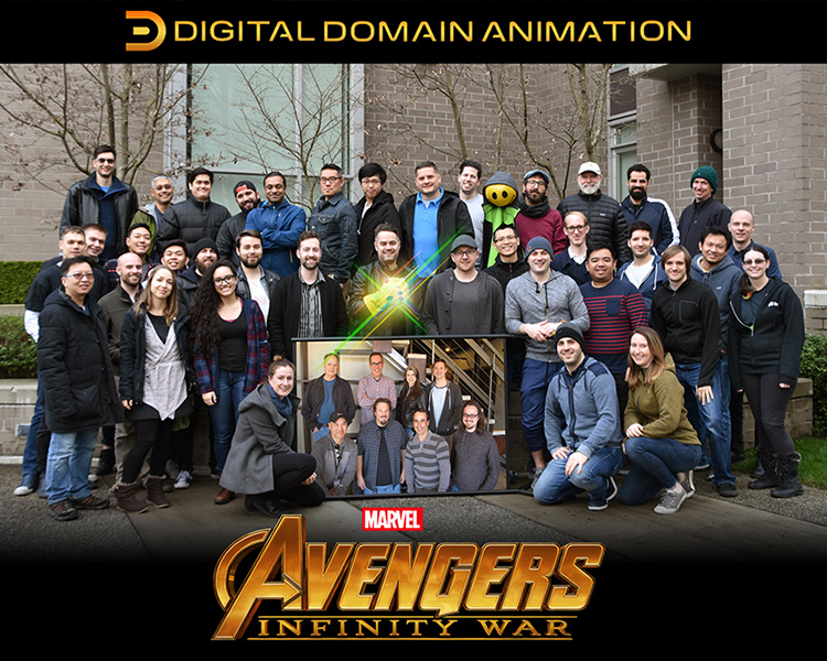 An image of the whole animation and visual effects team behind Avengers: Infinity War