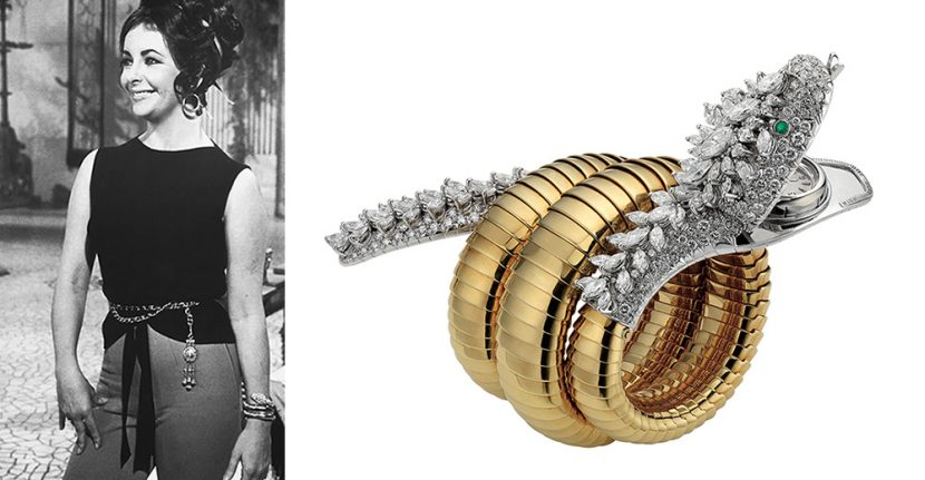 Two images side by side: one of Elizabeth Taylor wearing a gold and silver serpent bracelet, and the other showing the bracelet close up
