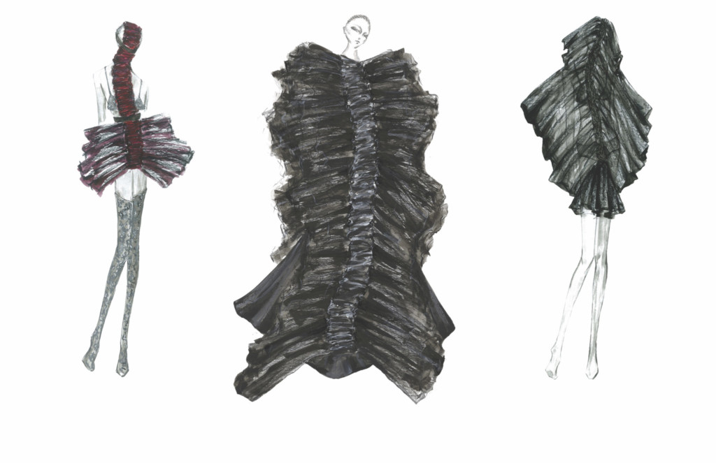 Design concepts of three ballgown-like outfits