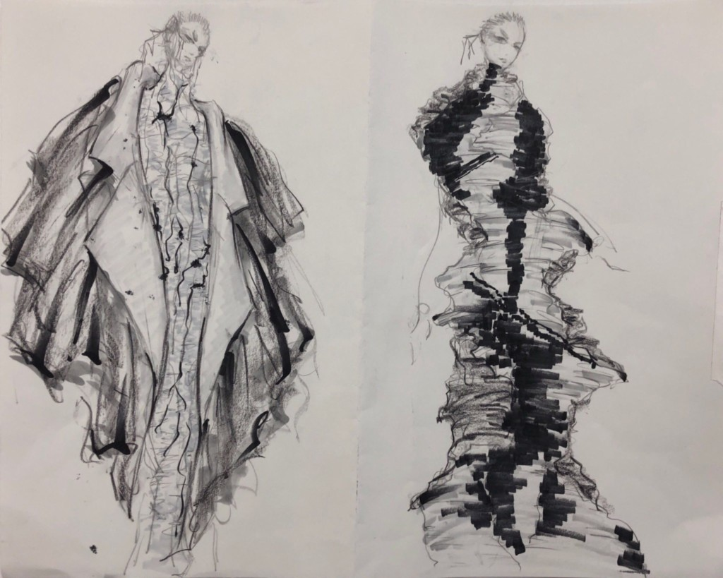 Two billowing outfit sketches in black marker