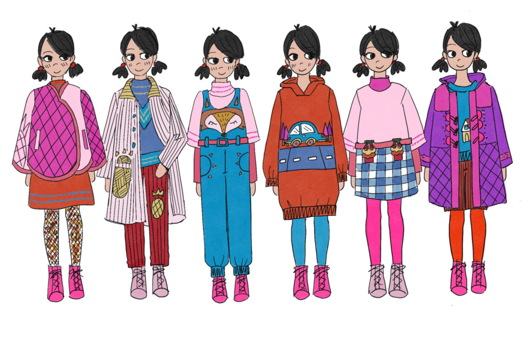 Six brightly colored outfit designs by Aya Chang