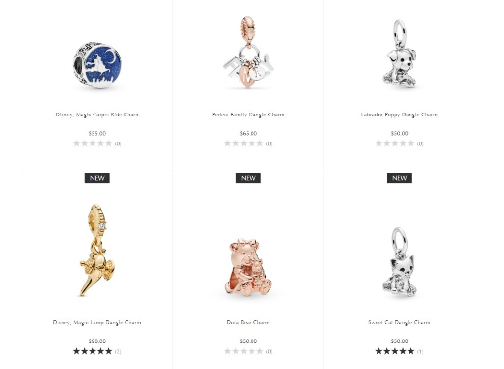 """Six charms: a genie's lamp charm, a magic carpet charm, a teddy bear charm, a cat charm, a dog charm, and a charm that reads """"family"""""""