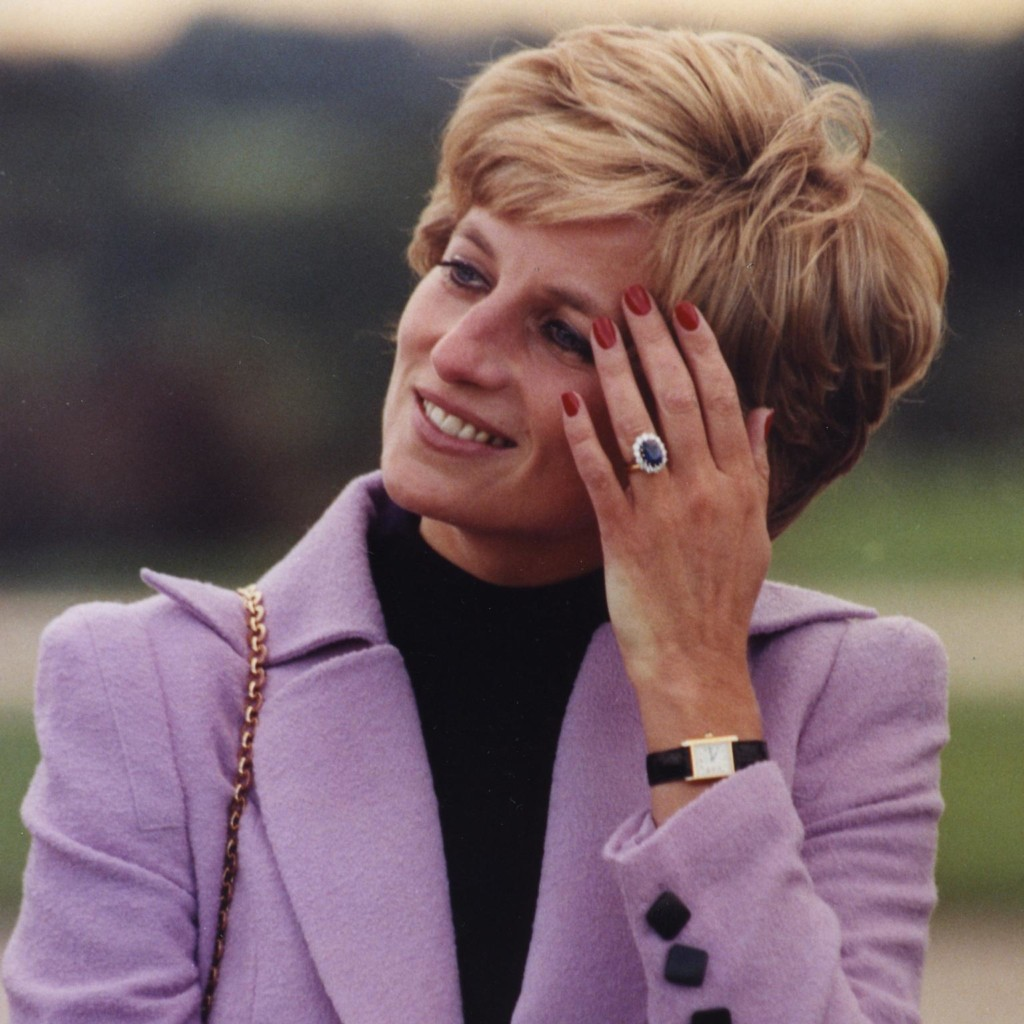 Princess Diana wearing Cartier's Tank watch