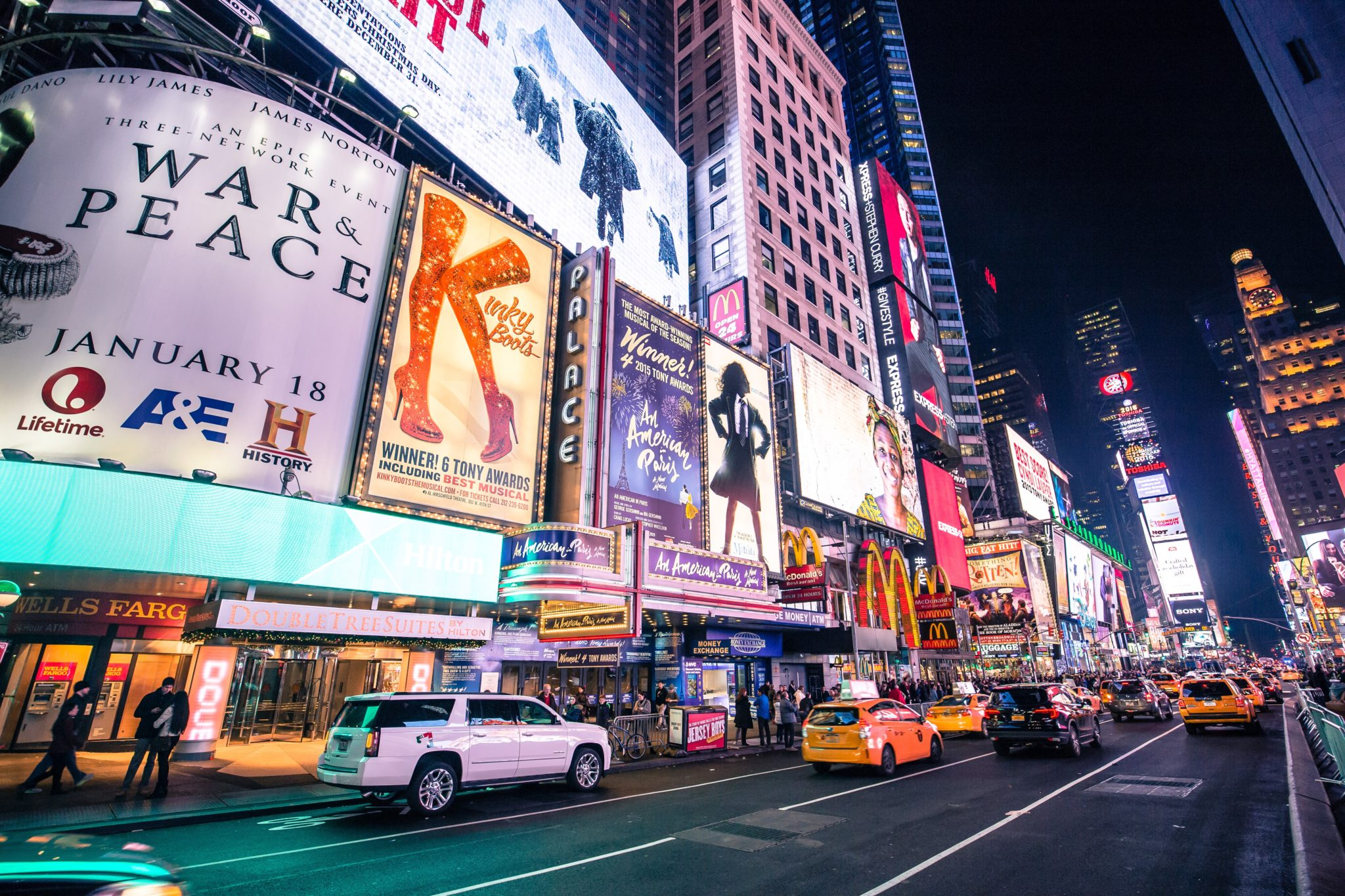 Neon billboards in New York's Times Square