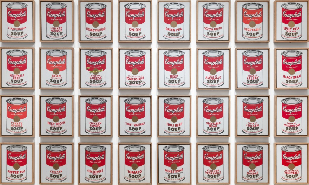 32 Campbell's soup cans in a 4x8 grid
