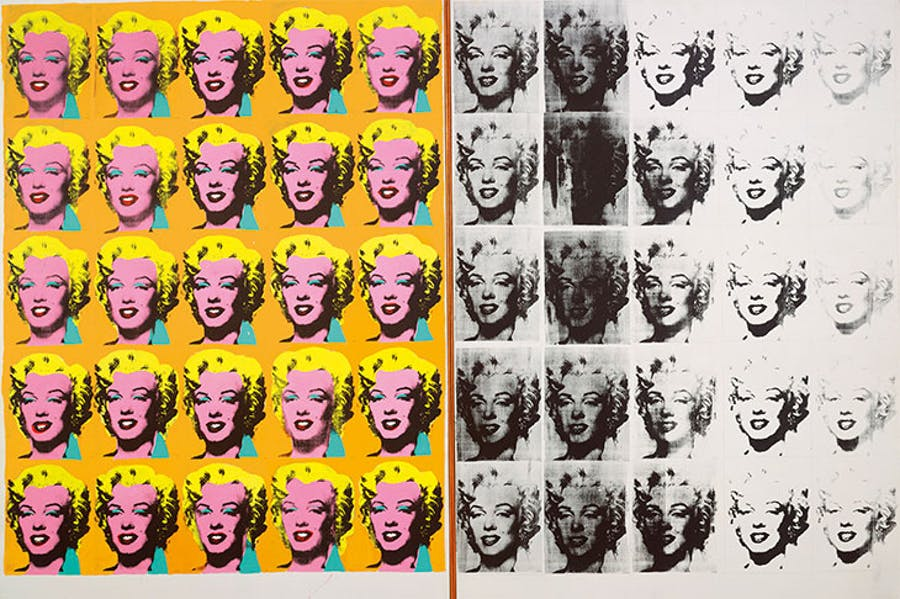 Multiple images of Marilyn Monroe in a grid