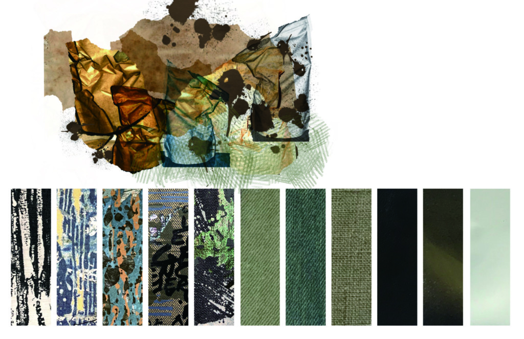Swatches of different blue, green, brown, and gray textile patterns