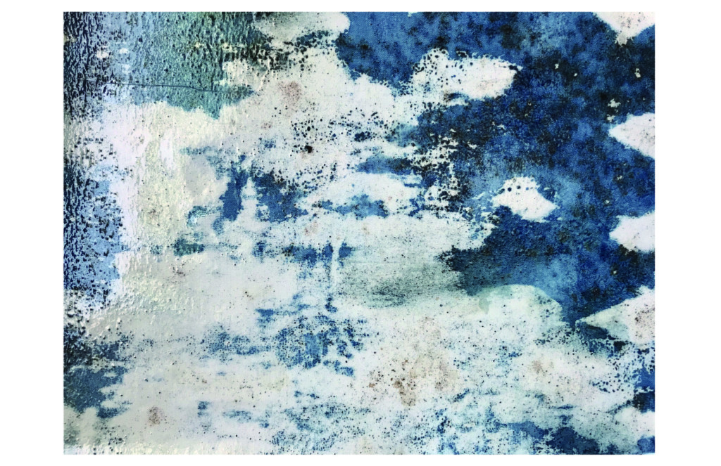 Blue and white splattered textile pattern