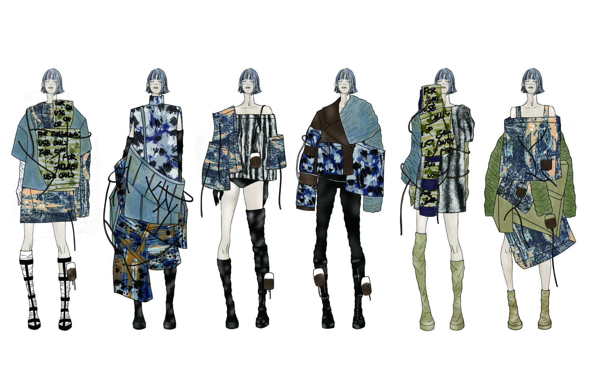 Lineup of various streetwear outfits by Jing Zhao