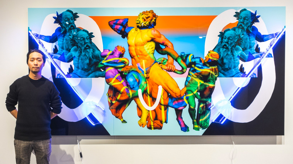 Painting of classic statues with neon lights incorporated.