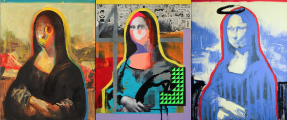 Three images of Mona Lisa painted in bright, popping colors