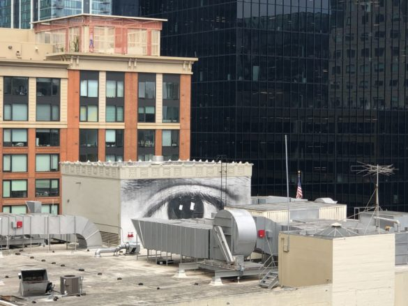 artwork by JR on academy of art rooftop
