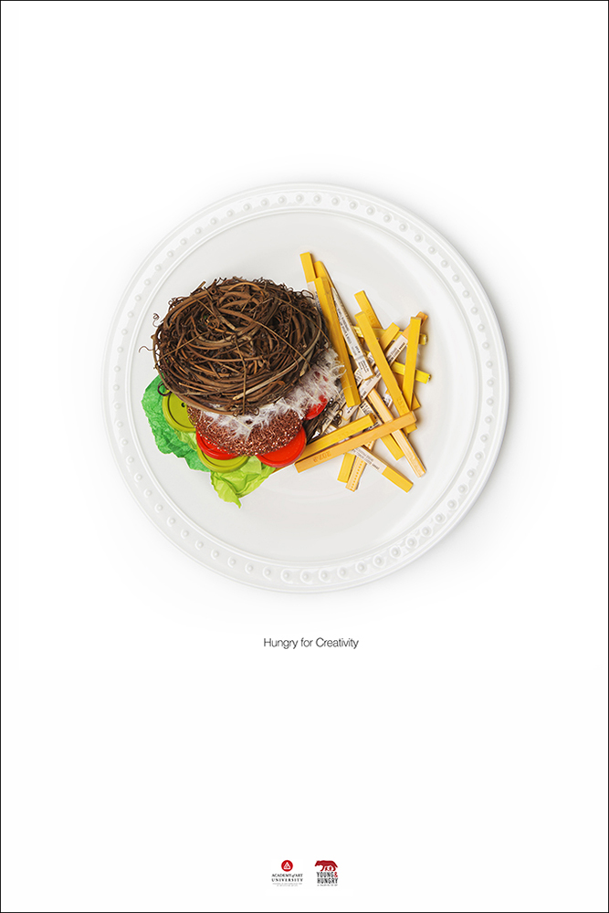 Miscellaneous items arranged to look like a burger and fries