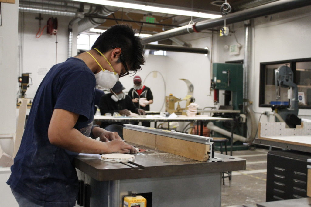 Industrial Design student in workshop