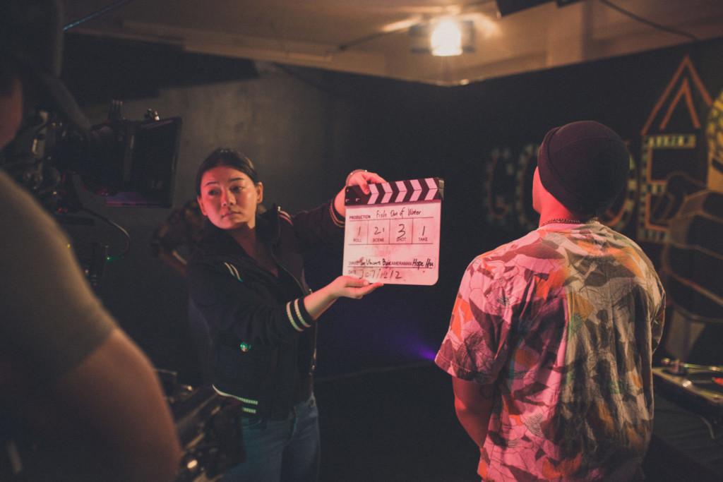 production crew as clapper