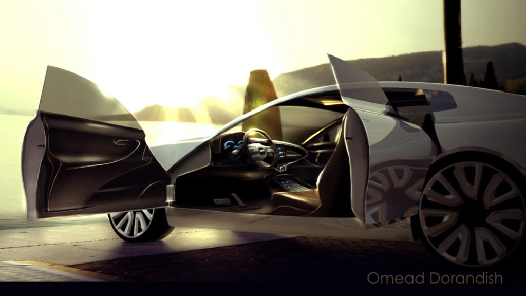 Car design with doors open