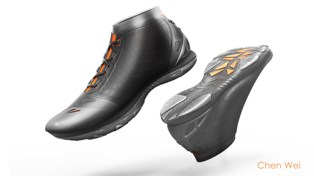 Gray shoes with orange marks on soles