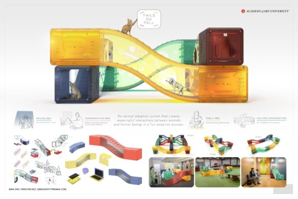 A play structure for cats and dogs by Industrial Design student Qing Guo