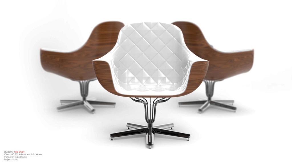 Set of brown and white chairs
