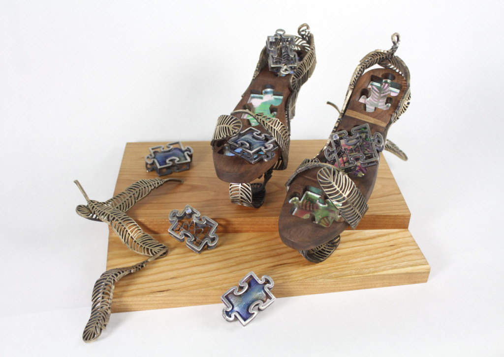 Metal sculpture of shoe and leaves by Academy student Sabrina Hsu