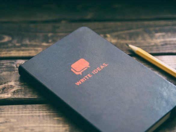"""Notebook with cover displaying """"Write Ideas"""""""