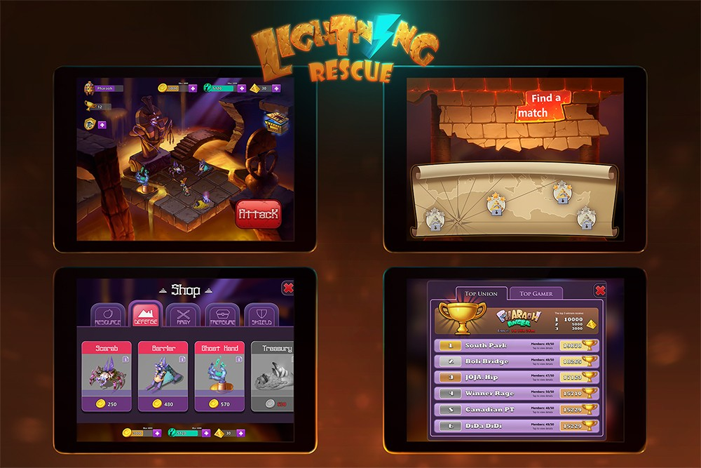 """""""Lightning Rescue"""" mobile interface design by Game Development MFA student Yujia Yang"""