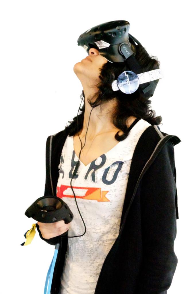 Game Development: Student Wearing VR Headset