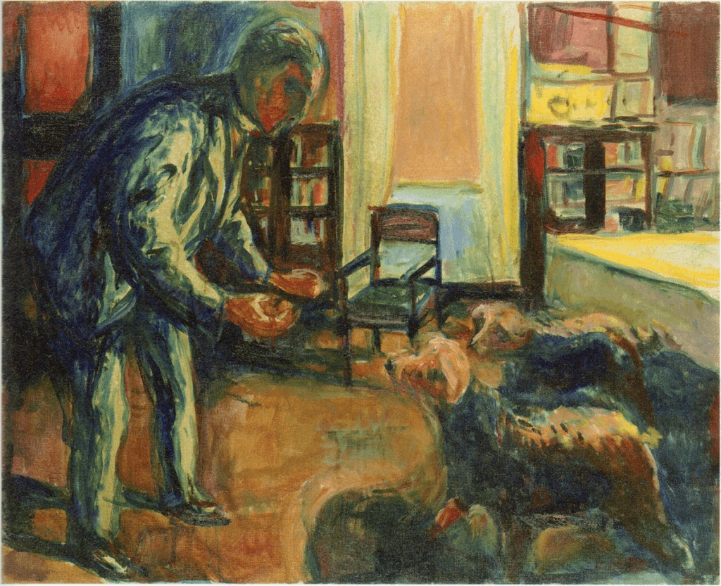 pets in art-edvard munch self portrait with dogs