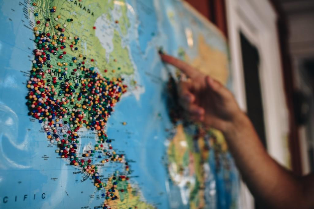 world map pins
