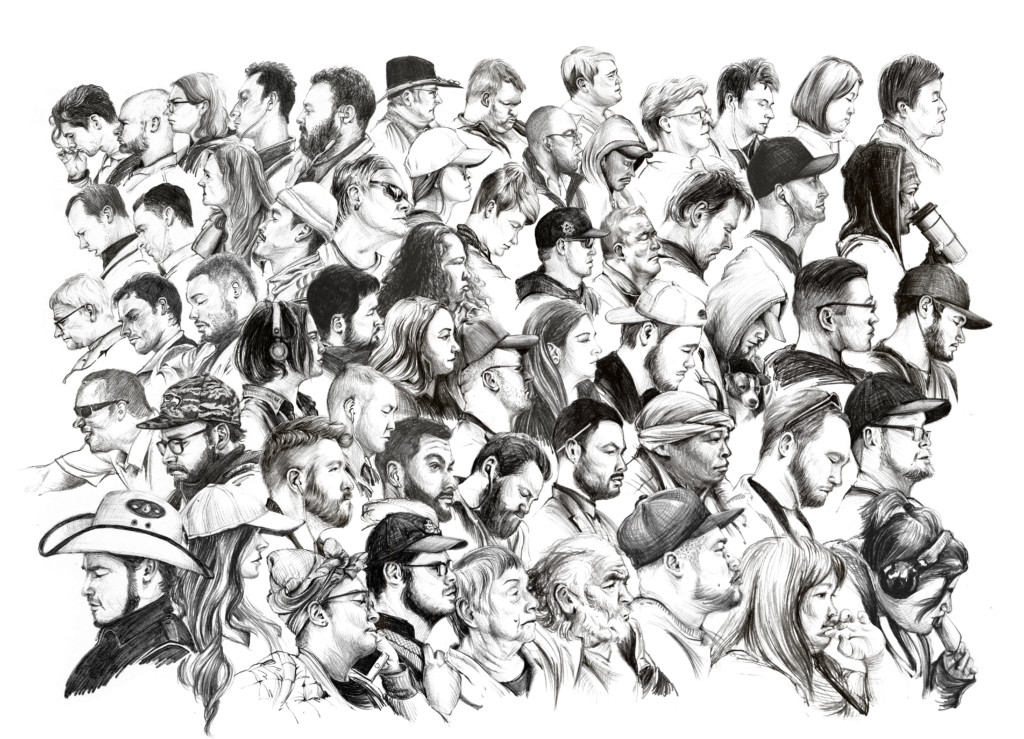 A pencil sketch depicting the busts of many kinds of people all together.