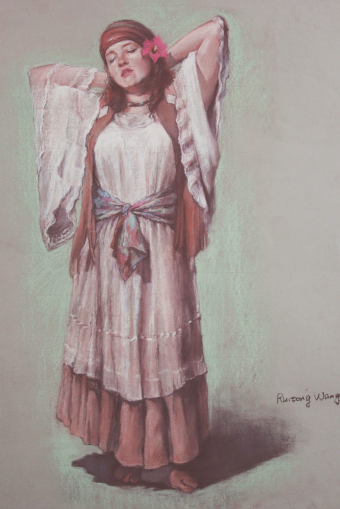 Painting of a women stretching in traditional dress by Ruitong Wang