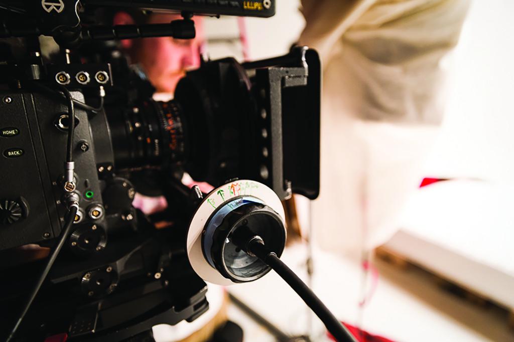 Partial sharp view of a movie camera